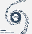 Monkey icon in the center Around the many vector image
