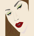 female portrait with red lips eps file vector image