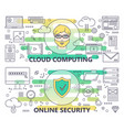 modern thin line cloud computing and online vector image