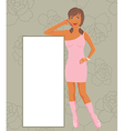 fashion girl showing message board - vector image
