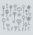 antique keys set hand drawn medieval vector image vector image
