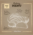 bakery food on cardboard background wheat bread vector image