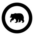 bear icon black color in circle vector image vector image