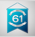 blue pennant with inscription sixty one years vector image vector image