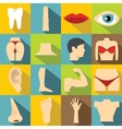 Body parts icons set flat style vector image vector image