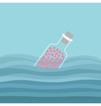 Bottle with hearts inside in the ocean sea water vector image vector image