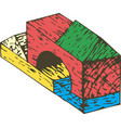 color wooden blocks composition vector image