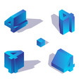 concept isometric set with numbers 4 vector image
