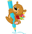 cute bear drawing with crayon - funny illus vector image