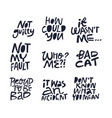 cute guilt quote hand drawn black lettering set vector image vector image