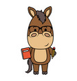 cute little horse character vector image vector image