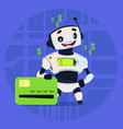cute robot hold credit card mobile payment online vector image vector image