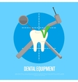 Dental equipment banner with instruments crosswise vector image vector image