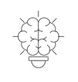 dotted shape bulb with brain inside to creative vector image vector image