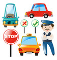 driver and different types of car vector image vector image