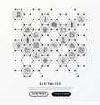 electricity concept in honeycombs vector image vector image
