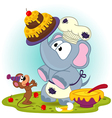 elephant chef prepare cake for mouse vector image vector image