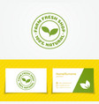 farm fresh shop logo set with green sprout vector image vector image