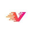 fast letter v logo icon design vector image