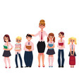 female teacher standing with students pupils vector image vector image