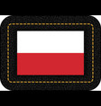 flag of poland icon on black leather backdrop vector image vector image