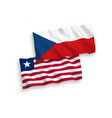 flags czech republic and liberia on a white vector image