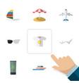 flat icon beach set of parasol moisturizer vector image vector image