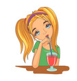 girl drinking a cocktail vector image