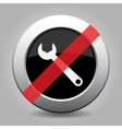 gray chrome button - no spanner vector image vector image