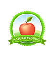 green badge with field and tasty red apple - round vector image vector image