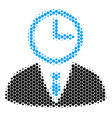 halftone dot time manager icon vector image vector image