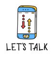 hand draw phone talk icon in doodle style vector image