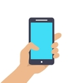 Hand holding Smart phone showing screen isolated vector image vector image
