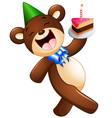 happy bear cartoon holding birthday cake vector image