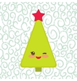 Happy New Year card Funny green Christmas tree vector image vector image