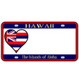 hawaii state license plate vector image vector image
