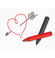 heart and markers vector image