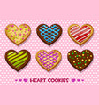 heart shaped gingerbread and chocolate cookies vector image