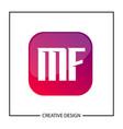initial letter mf logo template design vector image