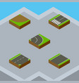 isometric road set of turn asphalt unilateral vector image vector image