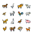 Line Farm Animals Set vector image