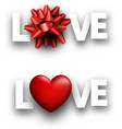 love signs with heart and bow vector image vector image