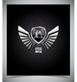 Metal Shield emblem with wings vector image vector image