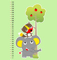 meter wall with funny animals and tree vector image vector image