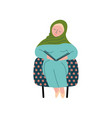 muslim woman in hijab sitting in armchair and vector image vector image
