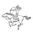 national american indian riding horse with spear vector image