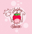 red sweet berry with a cow drawing strawberry milk vector image vector image