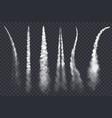 rocket smoke jet airplane trail realistic vector image