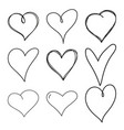 set black grunge hearts vector image