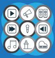 Set of 9 audio icons includes last song bullhorn